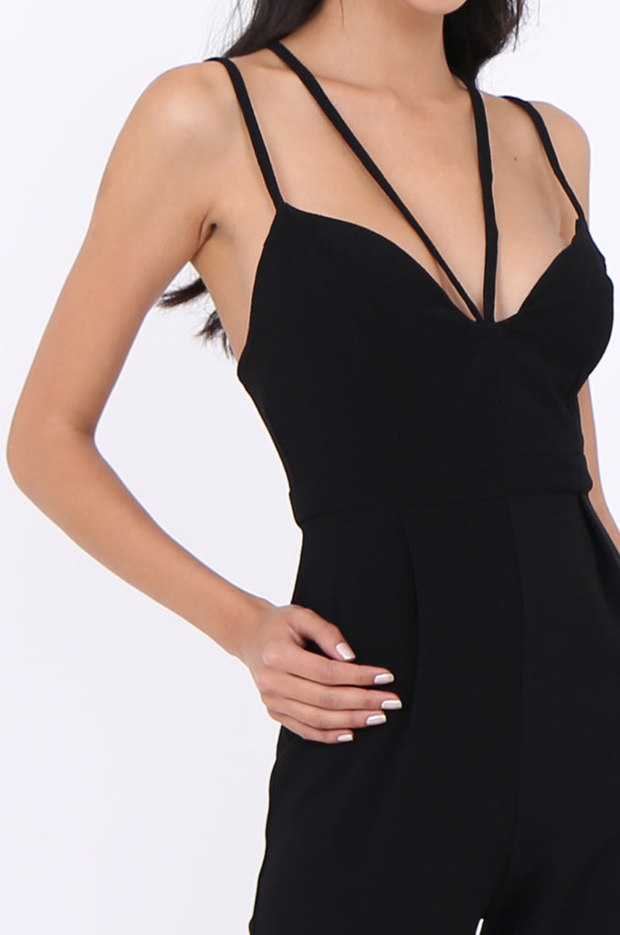 SLA1936-BLACK STRAPPY SWEETHEART NECKLINE PLEATED LEG JUMPSUIT view 4