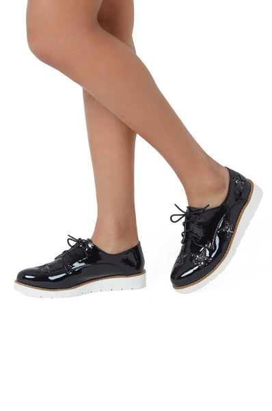 SLG1164-BLACK PATENT STAR WEDGE SHOE