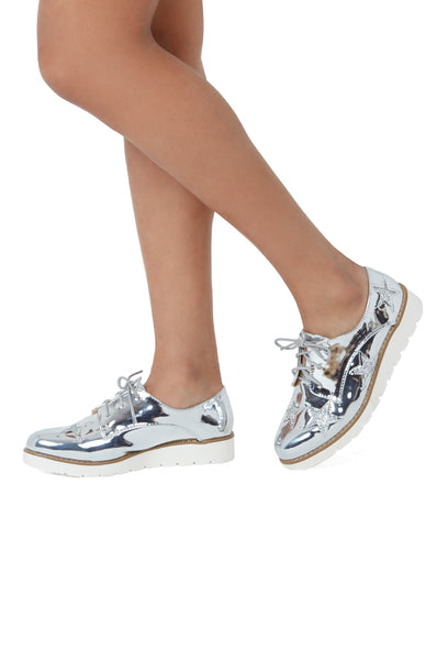 SLG1164-SILVER PATENT STAR WEDGE SHOE
