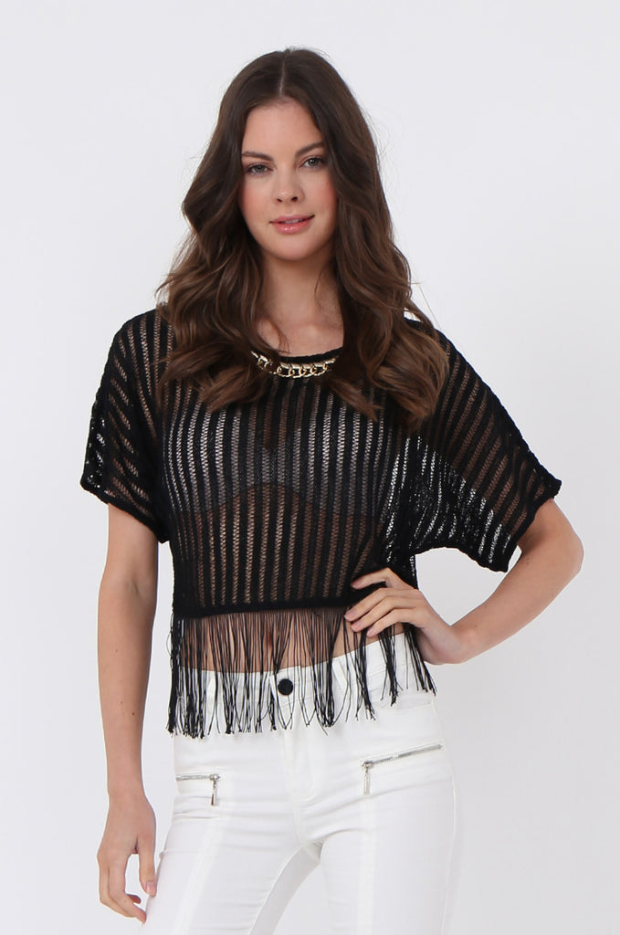 SLJ1071-BLACK FRINGE & CHAIN DETAIL CROP TOP view main view