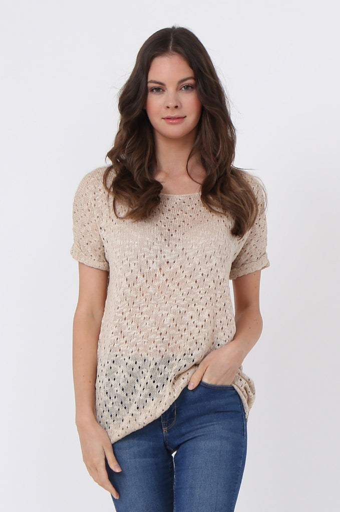 SLJ1072-BEIGE LIGHT WEIGHT KNIT TOP