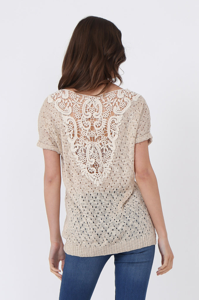 SLJ1072-BEIGE LIGHT WEIGHT KNIT TOP view 3