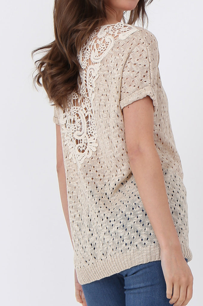SLJ1072-BEIGE LIGHT WEIGHT KNIT TOP view 5