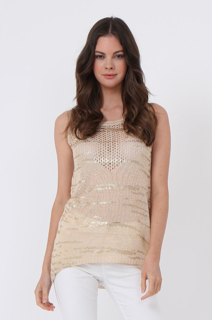 SLJ1073-BEIGE FOIL DETAIL SLEEVELESS TOP