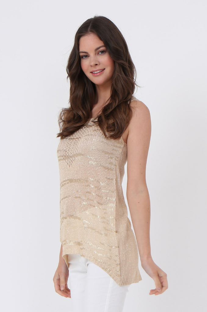 SLJ1073-BEIGE FOIL DETAIL SLEEVELESS TOP view 2