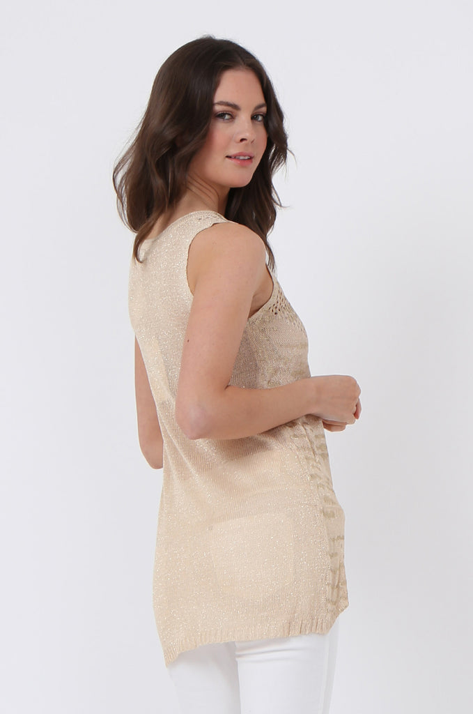 SLJ1073-BEIGE FOIL DETAIL SLEEVELESS TOP view 3
