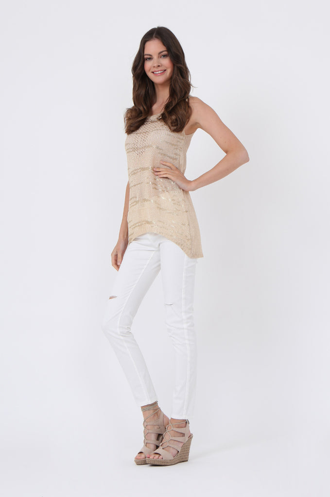 SLJ1073-BEIGE FOIL DETAIL SLEEVELESS TOP view 4