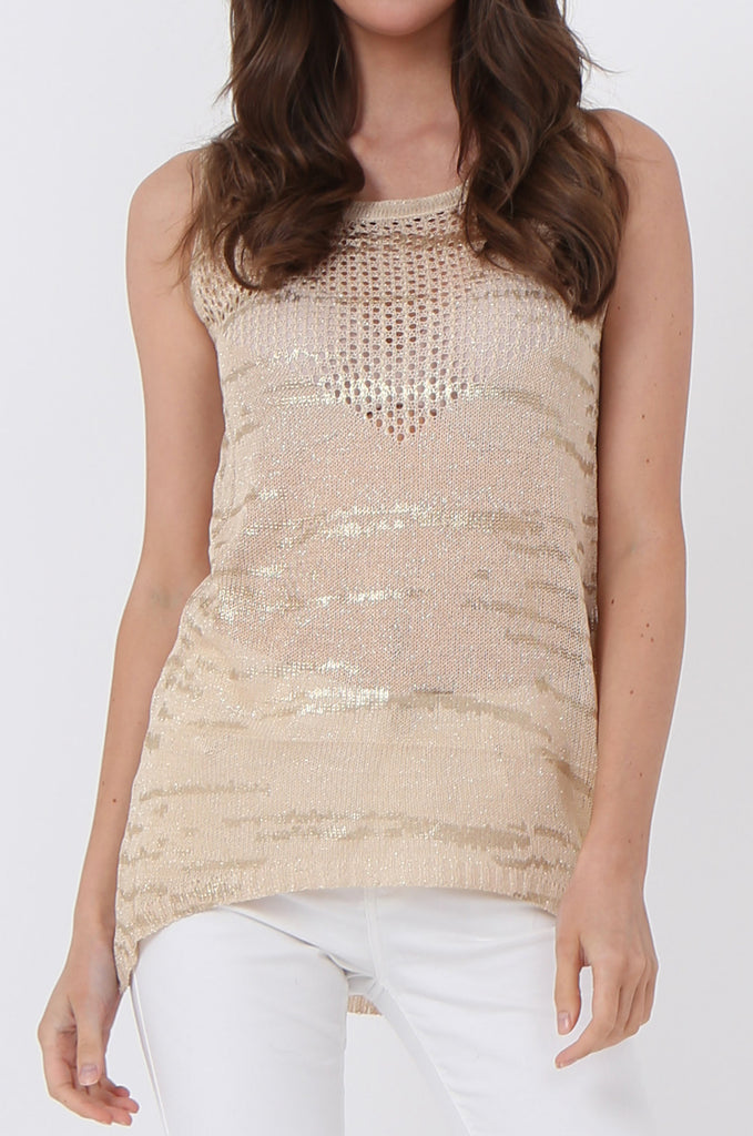 SLJ1073-BEIGE FOIL DETAIL SLEEVELESS TOP view 5