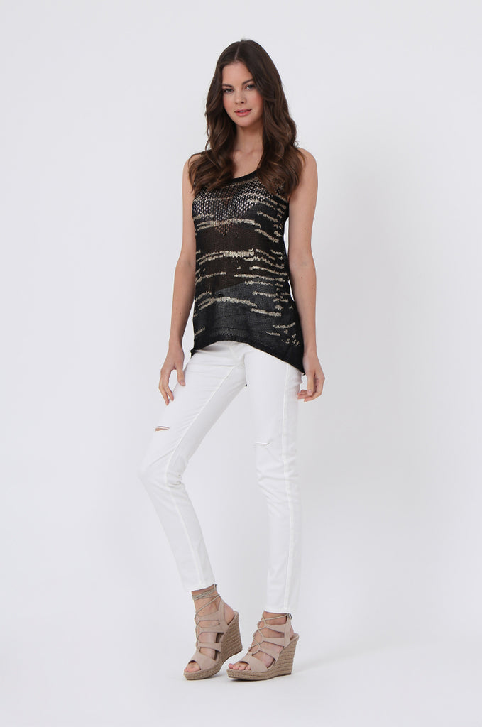FOIL DETAIL SLEEVELESS TOP