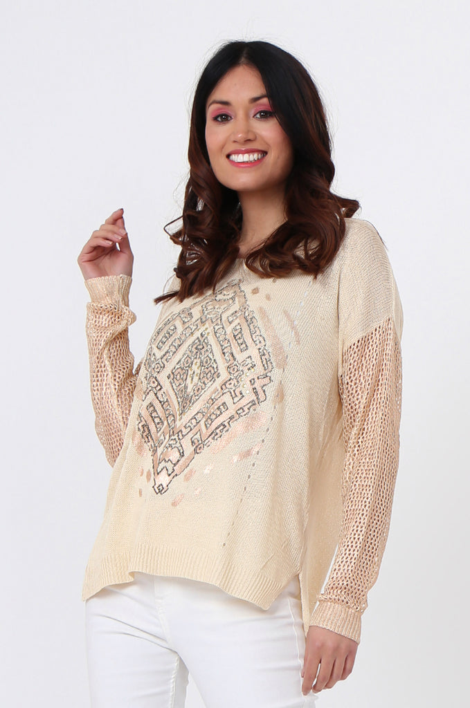 SLJ1074-BEIGE PRINT FRONT LONG SLEEVE KNIT TOP view 2