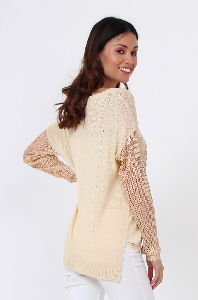 SLJ1074-BEIGE PRINT FRONT LONG SLEEVE KNIT TOP view 3