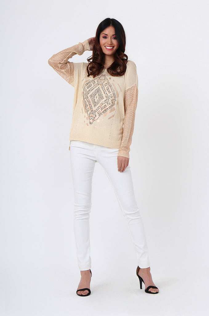 SLJ1074-BEIGE PRINT FRONT LONG SLEEVE KNIT TOP view 4