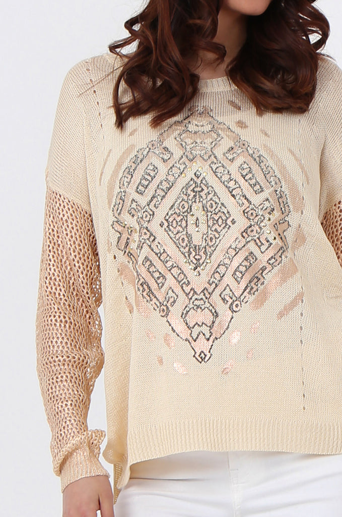 SLJ1074-BEIGE PRINT FRONT LONG SLEEVE KNIT TOP view 5