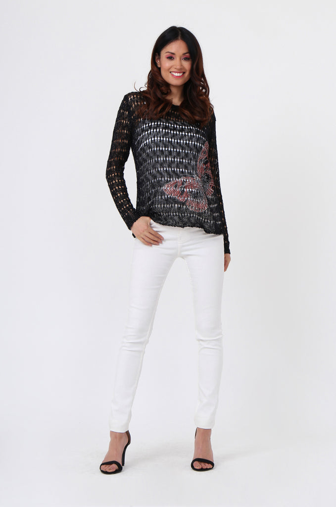 BUTTERFLY LONG SLEEVE KNIT TOP