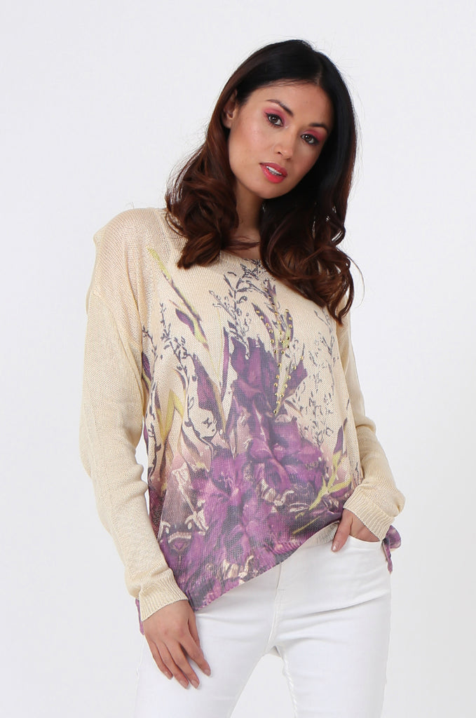 SLJ1076-BEIGE FLOWER LONG SLEEVE KNIT TOP