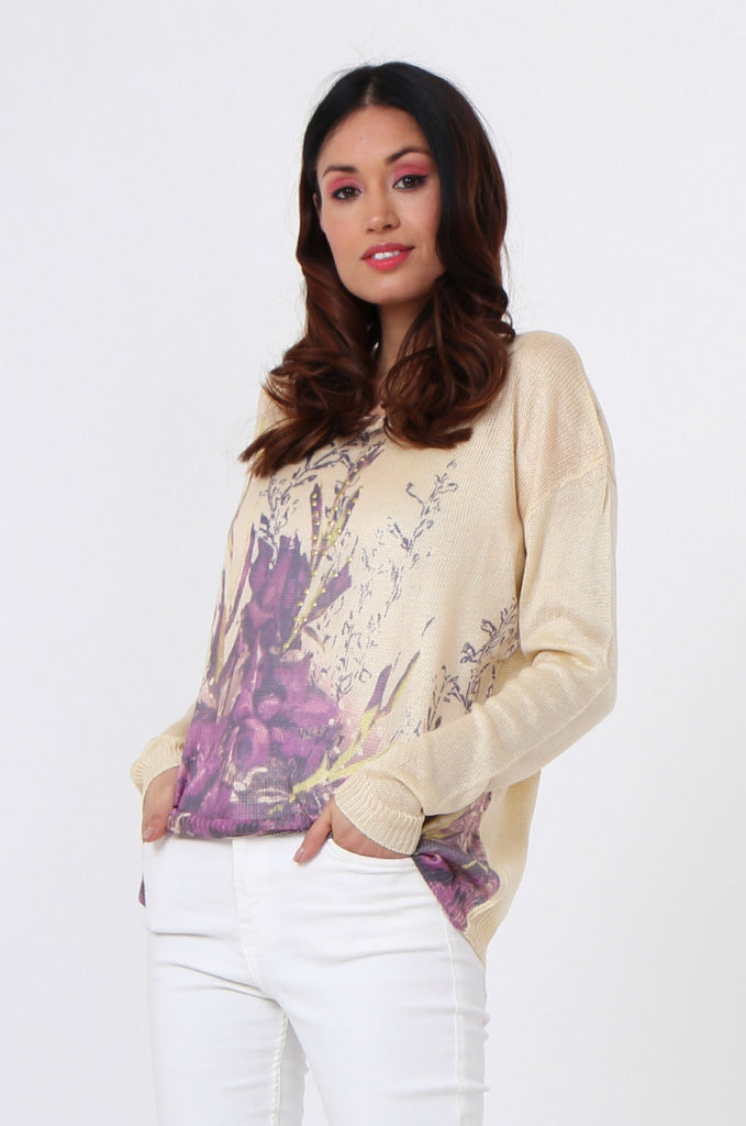 SLJ1076-BEIGE FLOWER LONG SLEEVE KNIT TOP view 2