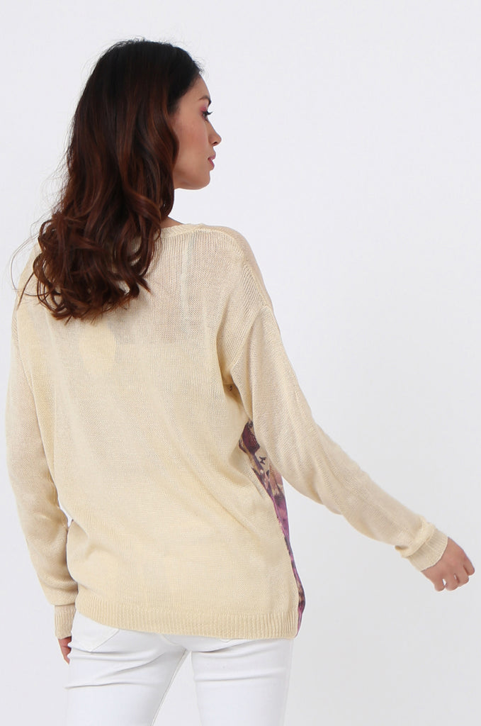 SLJ1076-BEIGE FLOWER LONG SLEEVE KNIT TOP view 3