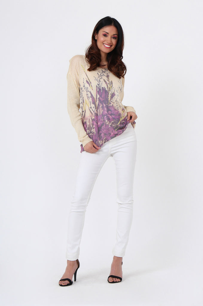 SLJ1076-BEIGE FLOWER LONG SLEEVE KNIT TOP view 4