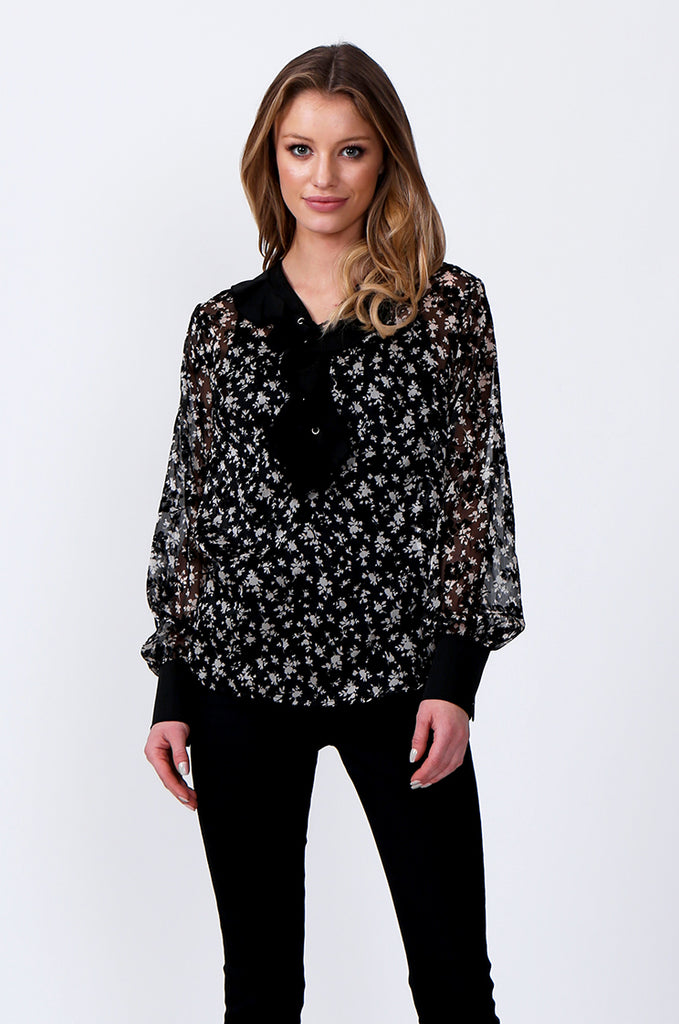 SLW0305-BLACK FLORAL PRINT LACE TOP
