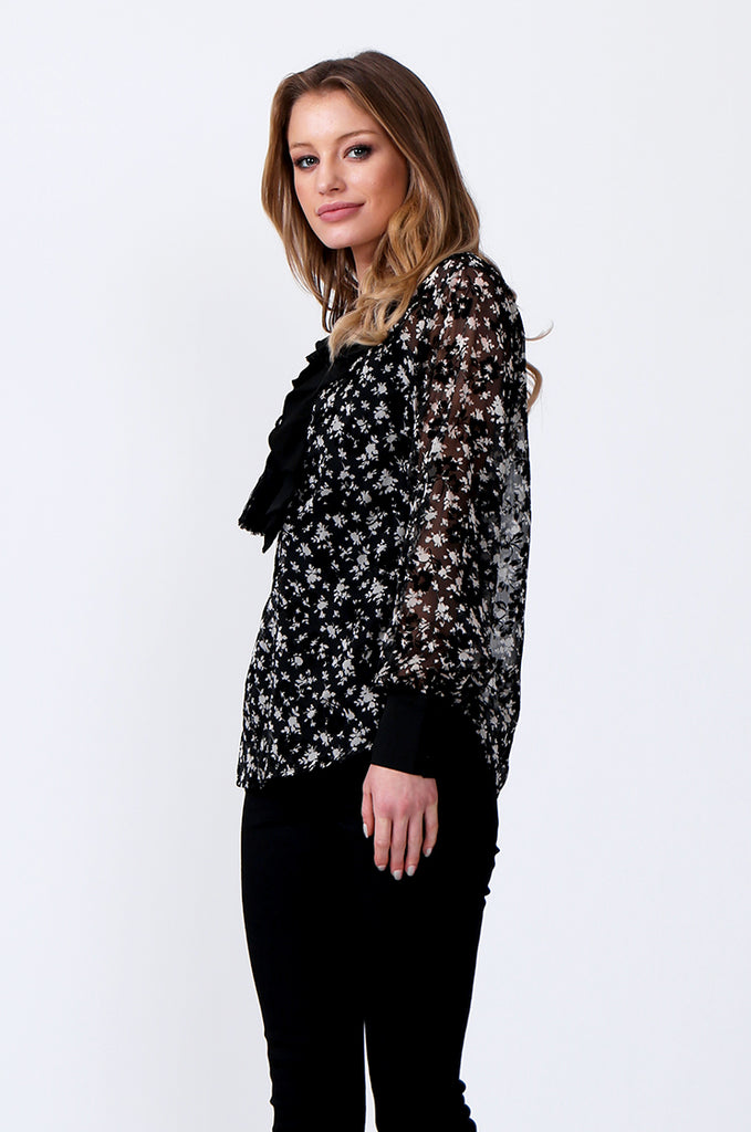 SLW0305-BLACK FLORAL PRINT LACE TOP view 2