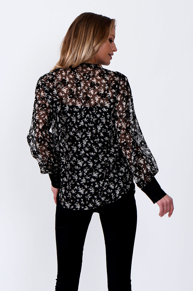 SLW0305-BLACK FLORAL PRINT LACE TOP view 3