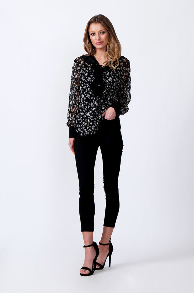 SLW0305-BLACK FLORAL PRINT LACE TOP view 4