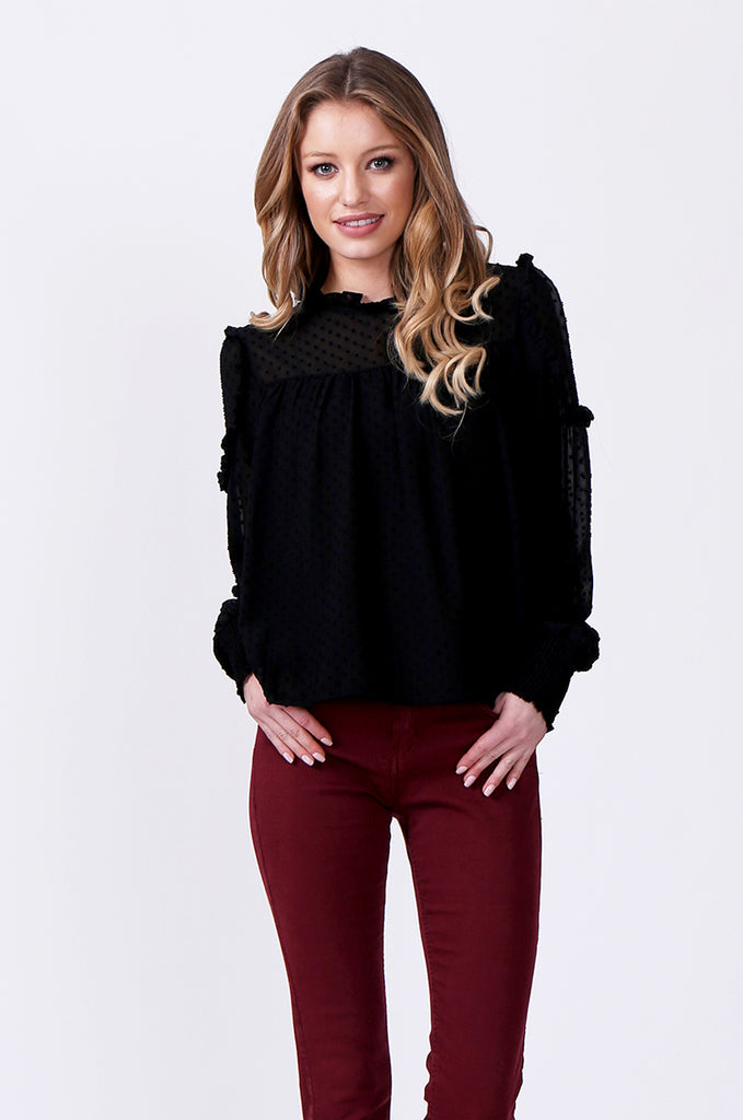 SLW0306-BLACK DOBBY RUFFLE NECK BLOUSE view main view