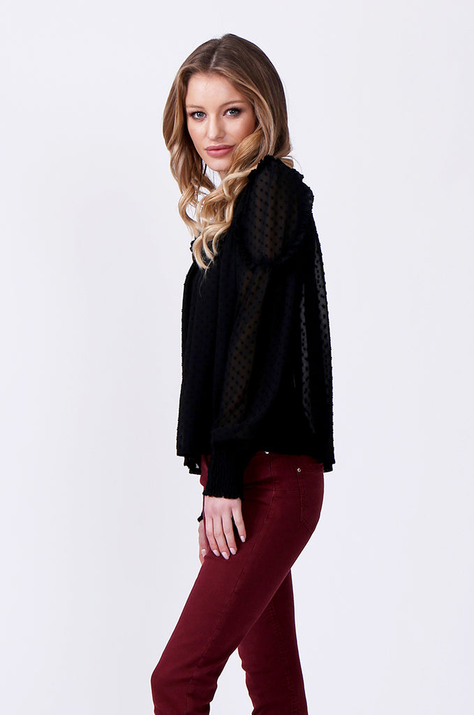 SLW0306-BLACK DOBBY RUFFLE NECK BLOUSE view 2