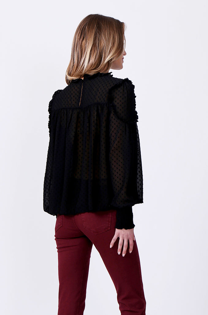 SLW0306-BLACK DOBBY RUFFLE NECK BLOUSE view 3