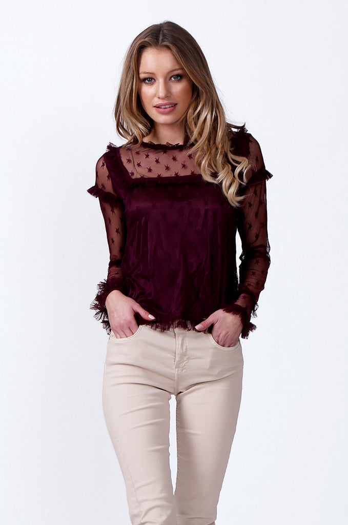 SLW0307-WINE RUFFLE DETAIL MESH TOP