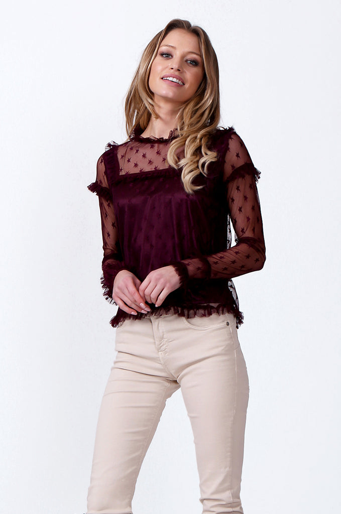 SLW0307-WINE RUFFLE DETAIL MESH TOP view 2