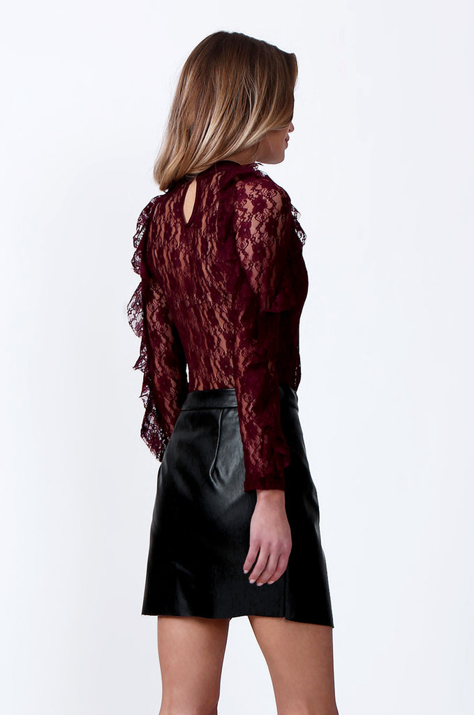 SLW0308-WINE LACE CROSS OVER FRONT BODY SUIT view 3