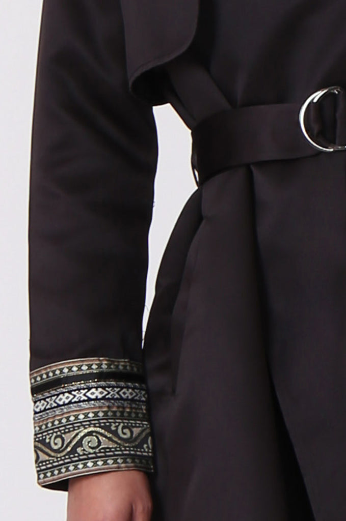 SLW0309-BLACK SATIN EMBROIDED CUFF 3/4 MAC view 5