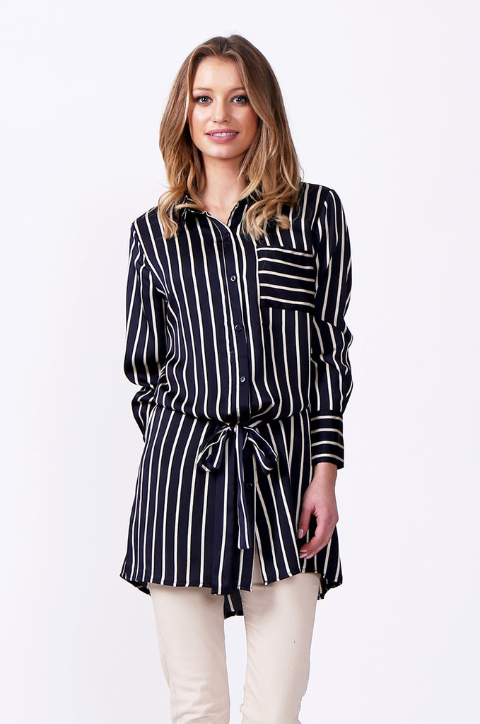 SLW0312-NAVY LONG SLEEVE STRIPE BLOUSE view main view