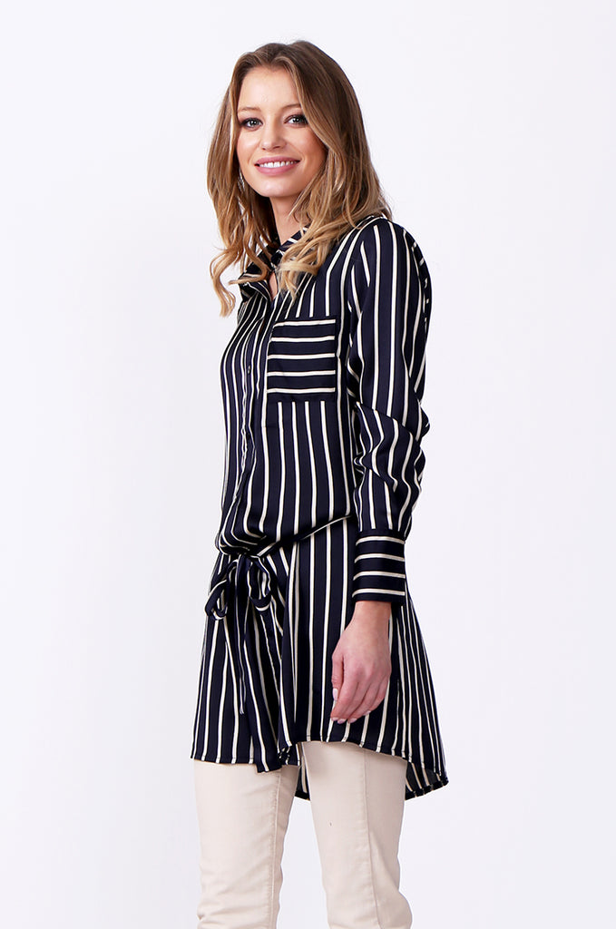 SLW0312-NAVY LONG SLEEVE STRIPE BLOUSE view 2