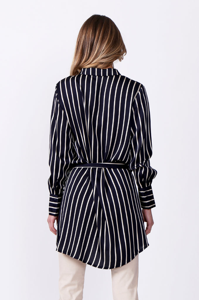 SLW0312-NAVY LONG SLEEVE STRIPE BLOUSE view 3