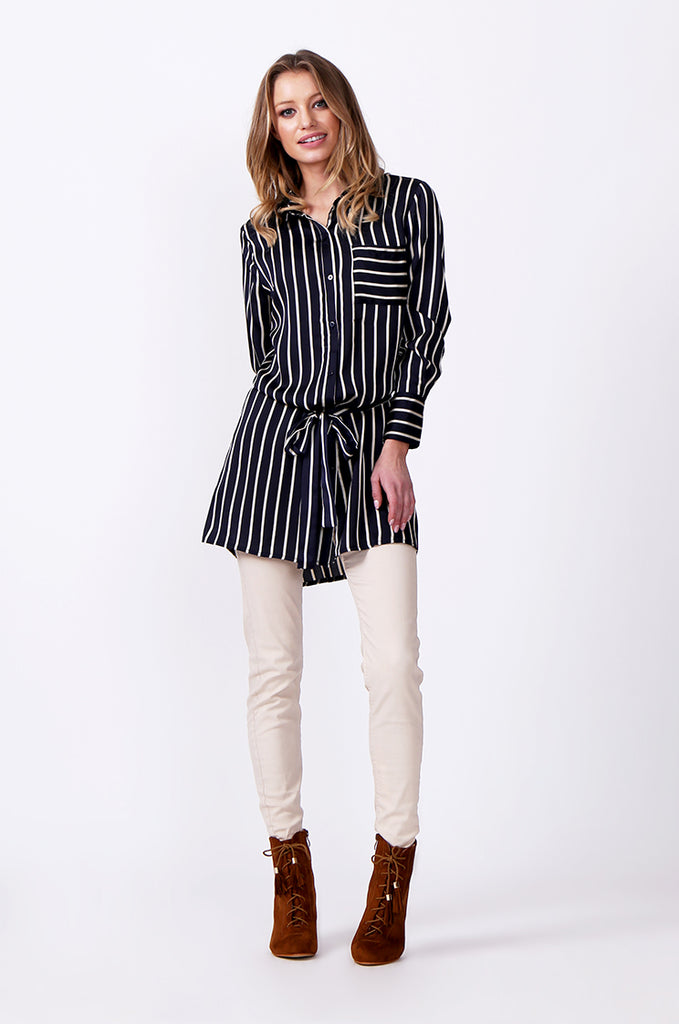 SLW0312-NAVY LONG SLEEVE STRIPE BLOUSE view 4