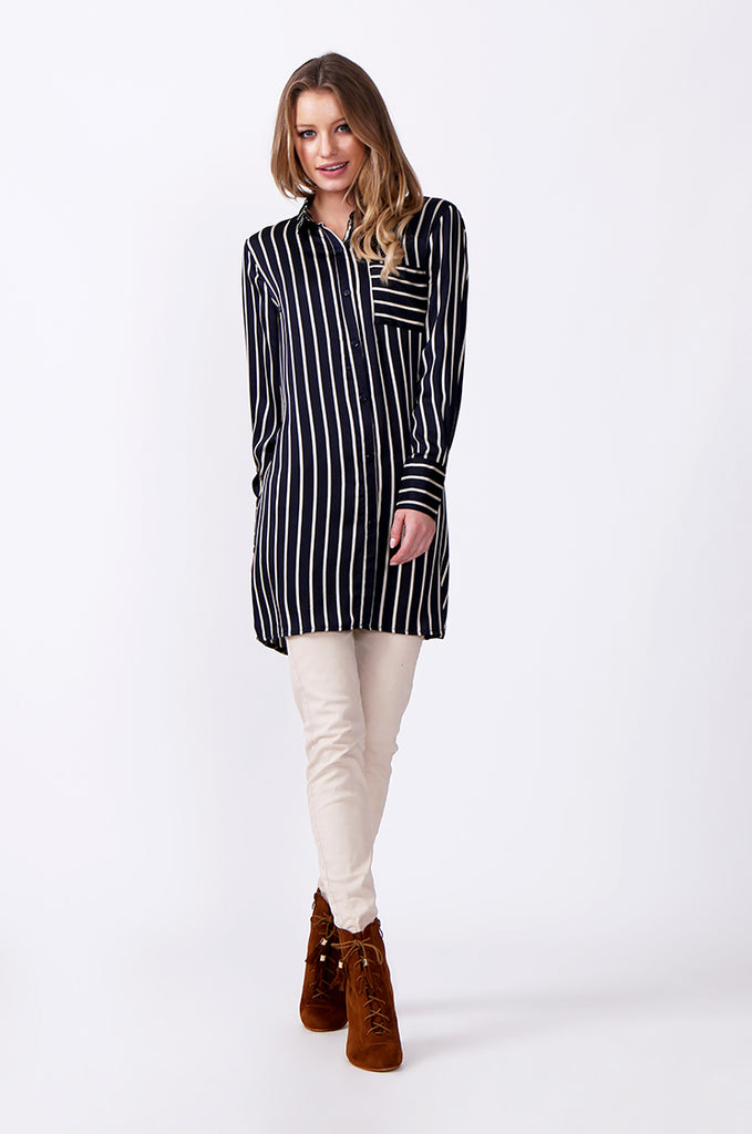 SLW0312-NAVY LONG SLEEVE STRIPE BLOUSE view 5