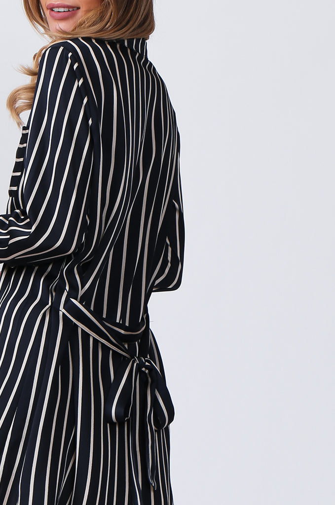 SLW0312-NAVY LONG SLEEVE STRIPE BLOUSE view 6
