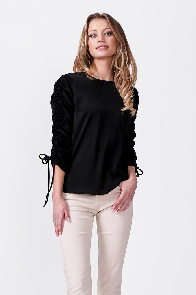 SLW0313-BLACK SATIN RUCHED SLEEVE BLOUSE