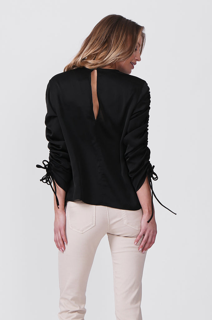 SLW0313-BLACK SATIN RUCHED SLEEVE BLOUSE view 3