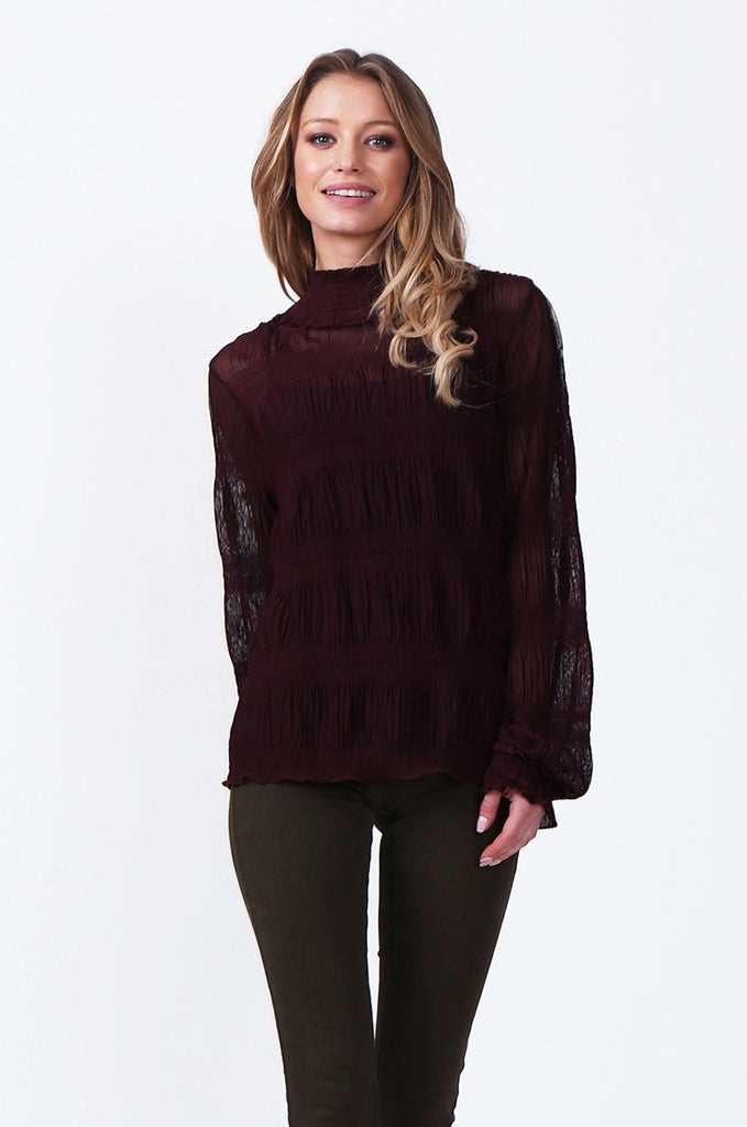 SLW0314-WINE SHIRRED HIGH NECK BLOUSE