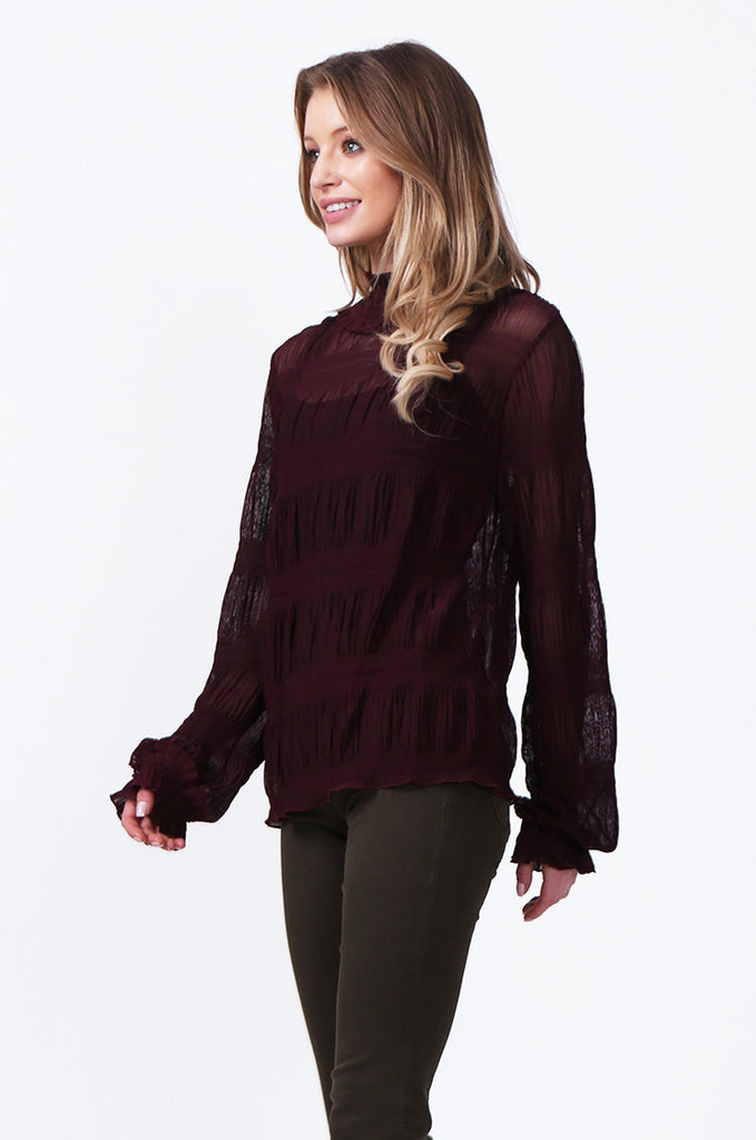 SLW0314-WINE SHIRRED HIGH NECK BLOUSE view 2