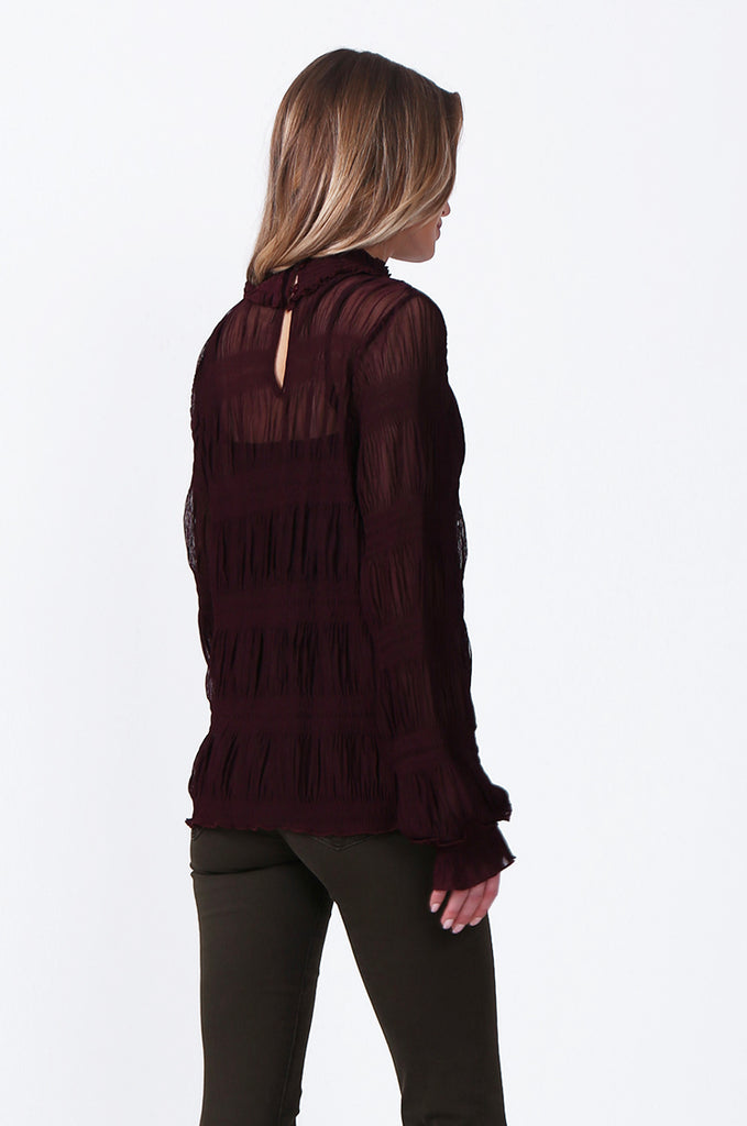 SLW0314-WINE SHIRRED HIGH NECK BLOUSE view 3