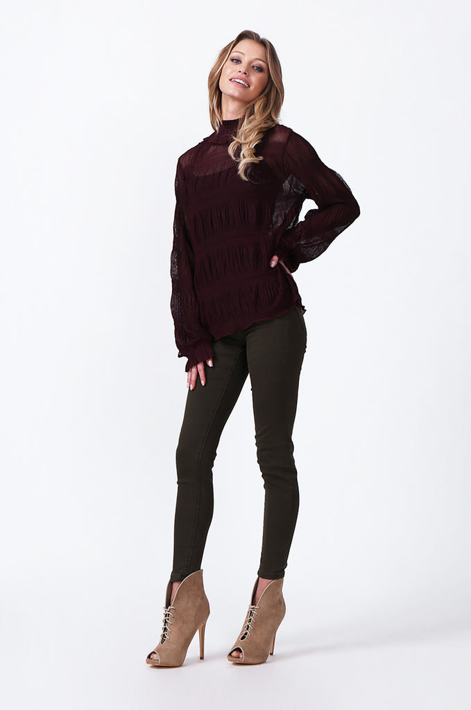 SLW0314-WINE SHIRRED HIGH NECK BLOUSE view 4