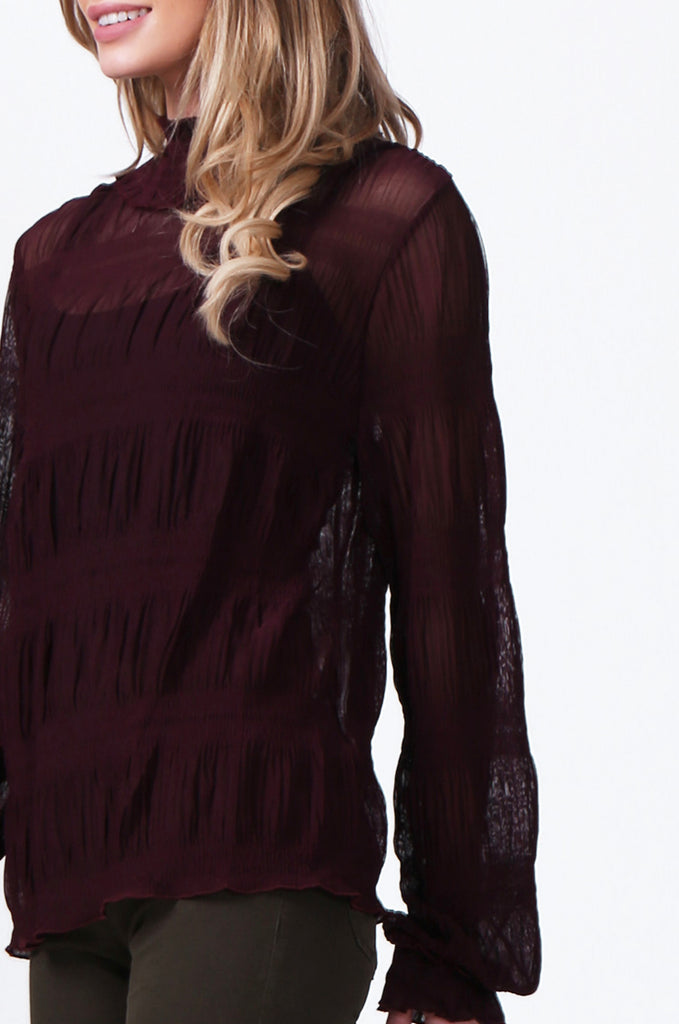 SLW0314-WINE SHIRRED HIGH NECK BLOUSE view 5