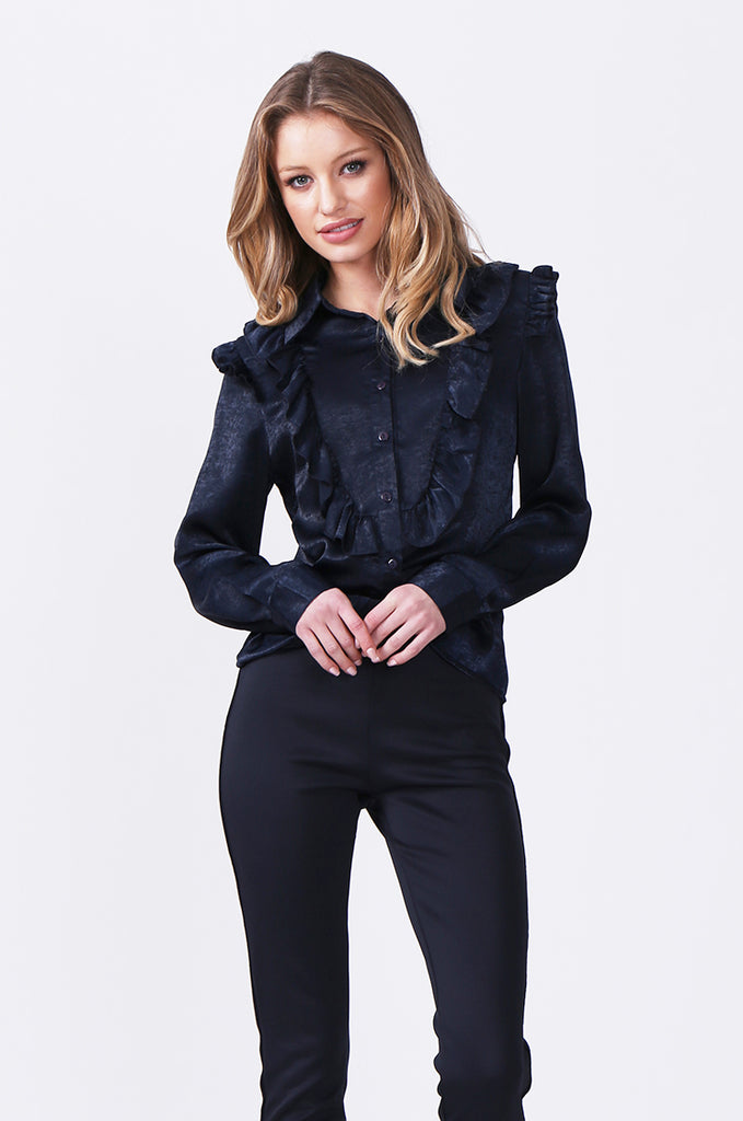 SLW0317-NAVY BUTTON FRONT BLOUSE WITH RUFFLE DETAIL