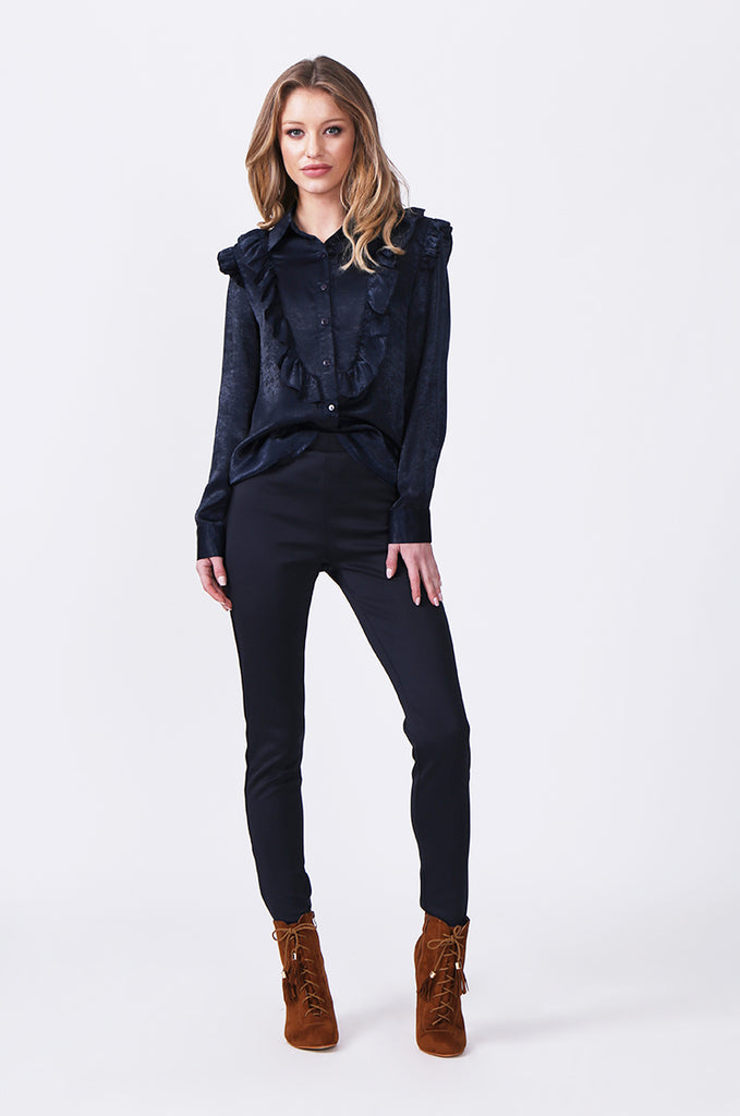 SLW0317-NAVY BUTTON FRONT BLOUSE WITH RUFFLE DETAIL view 4