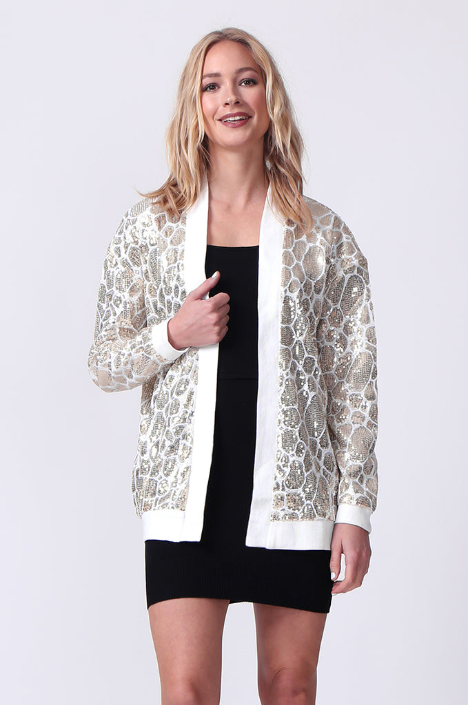 SLW0320-WHITE SEQUIN BLAZER view 2