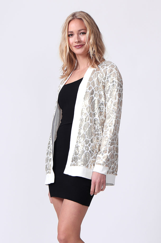 SLW0320-WHITE SEQUIN BLAZER